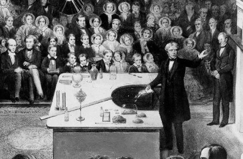 Weihnachtsvorlesung mit Michael Faraday (Quelle: Wikipedia)